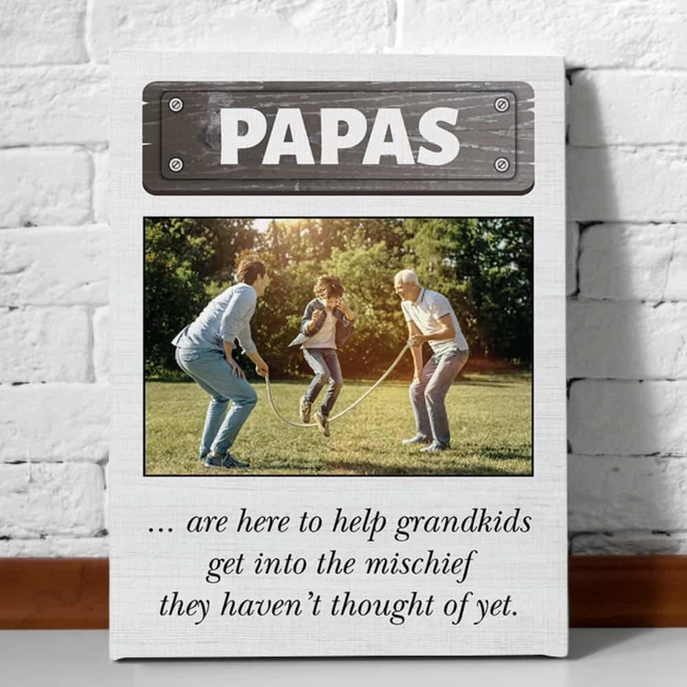 Papas Are Here to Help Grandkids Portrait Custom Photo Canvas