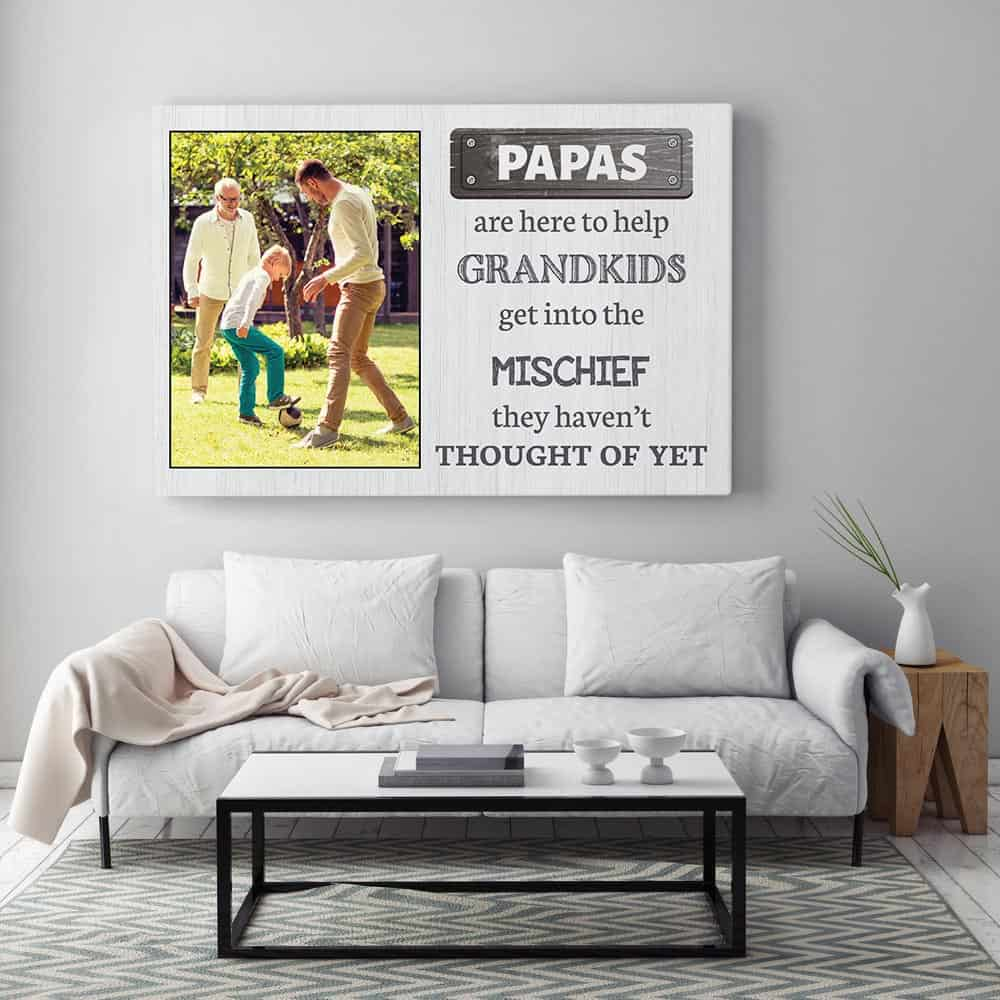 Papas Are Here To Help Grandkids Photo Canvas Gift