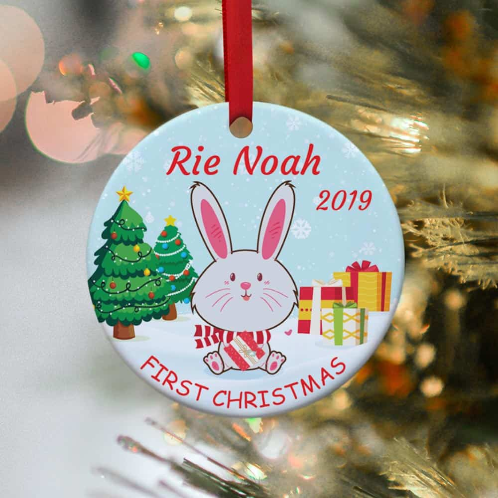 baby's first christmas rabbit ornament