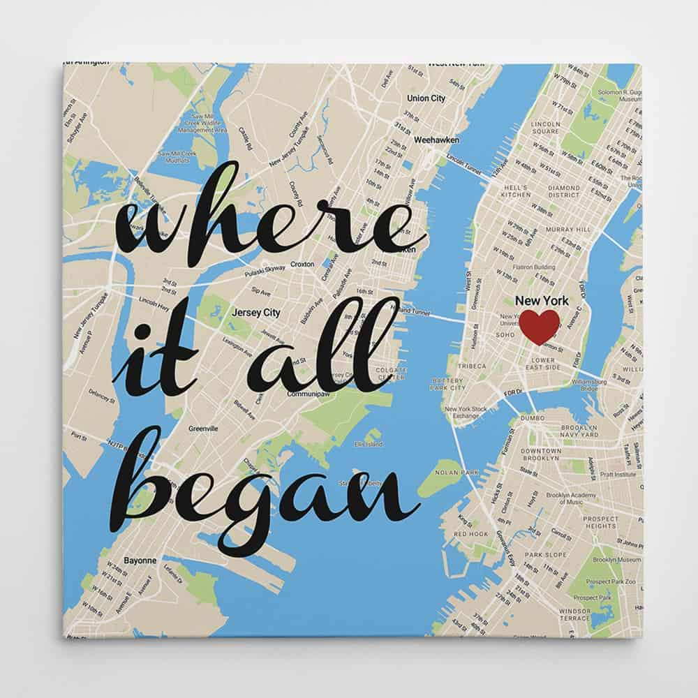 where it all began map wall art custom canvas print