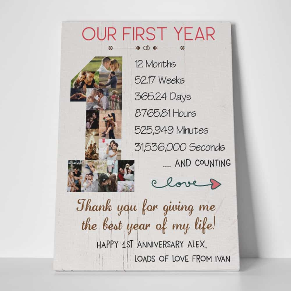 first anniversary, 1 year anniversary photo collage custom canvas print