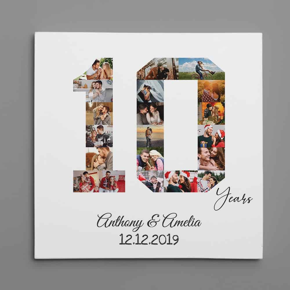 10 Year Anniversary Photo Collage Canvas Print