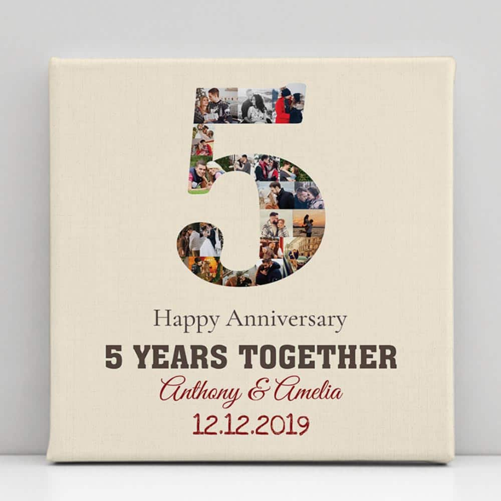 5 year anniversary photo collage canvas print
