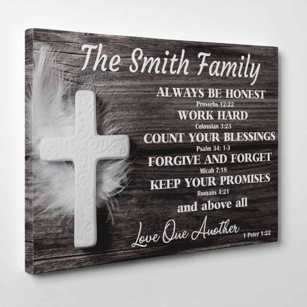 Christian Family Rules Canvas Wall Art