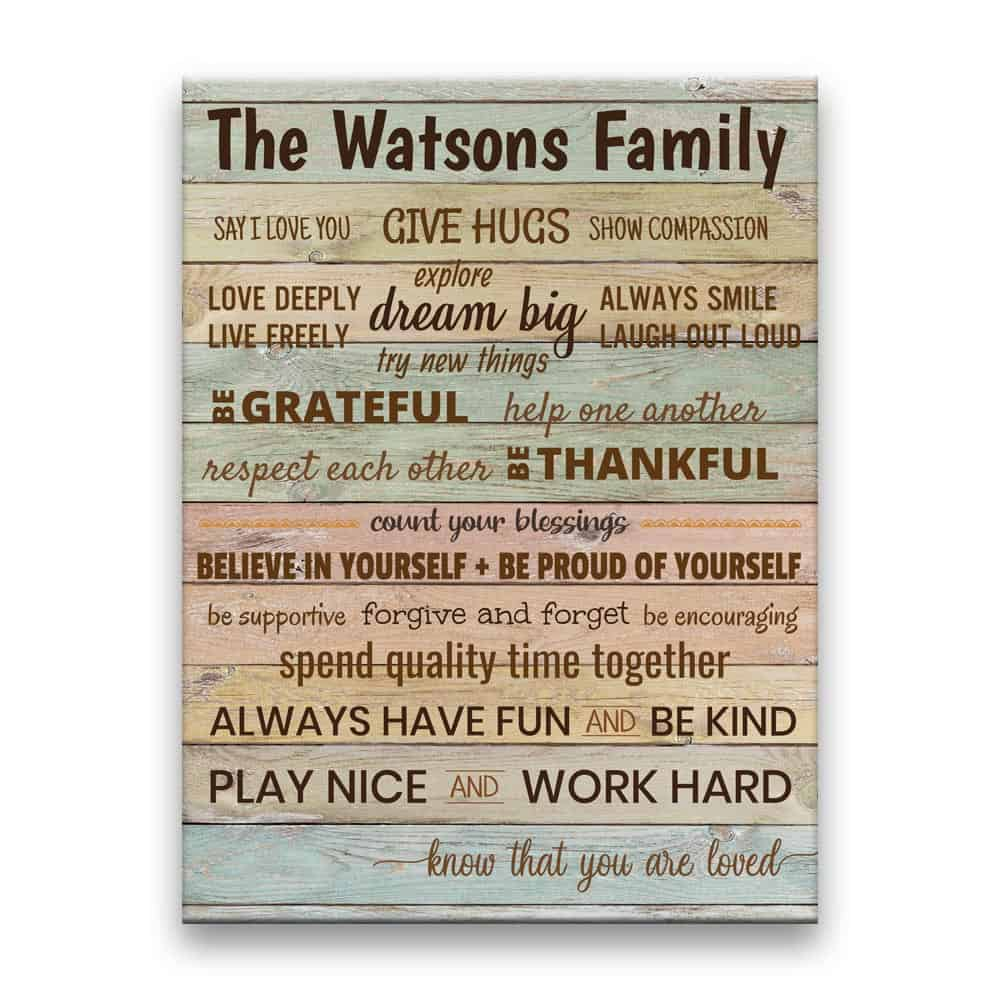 custom family rules wall art canvas sign