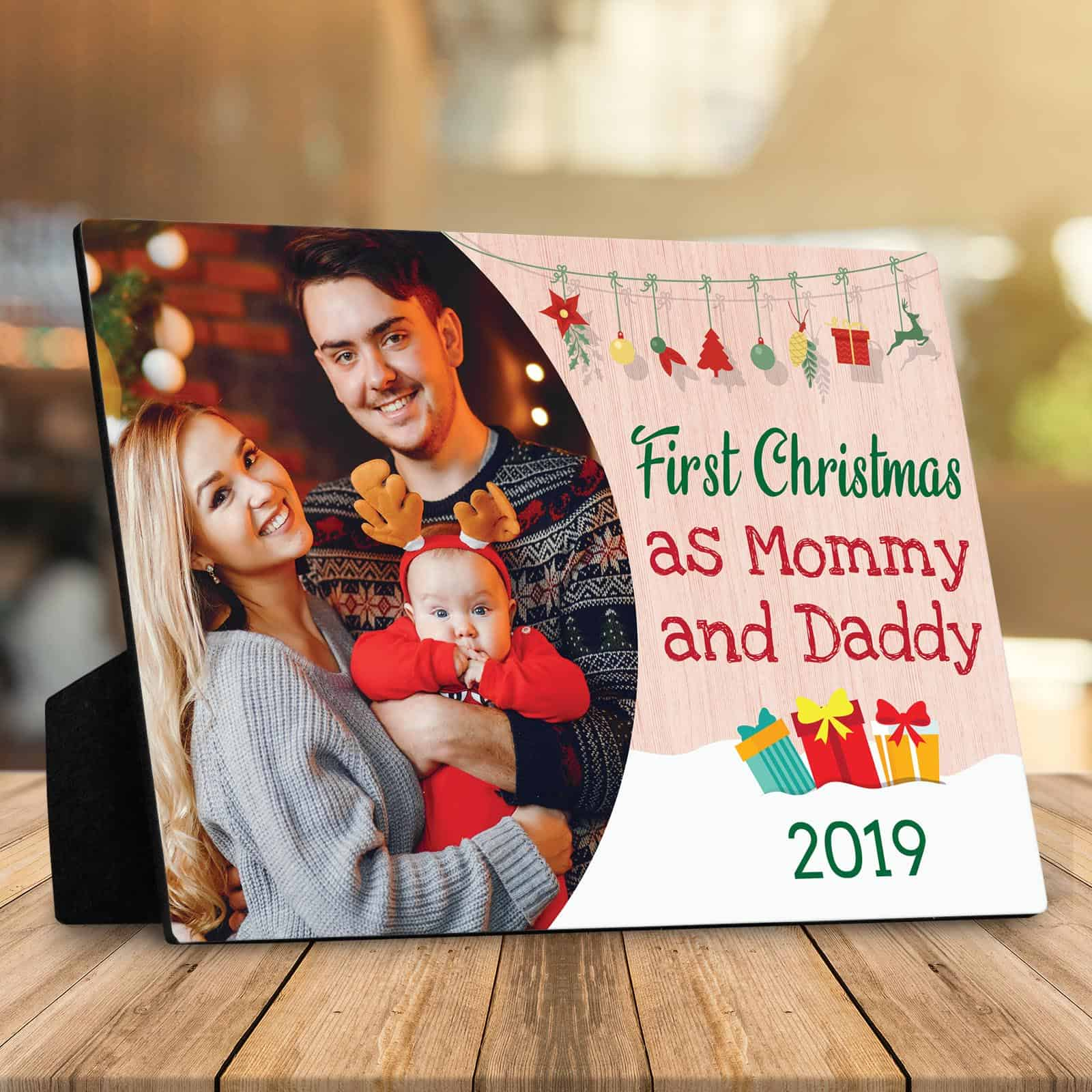 first christmas as mommy and daddy desktop plaque - First Christmas as Mommy and Daddy Photo Desktop Plaque