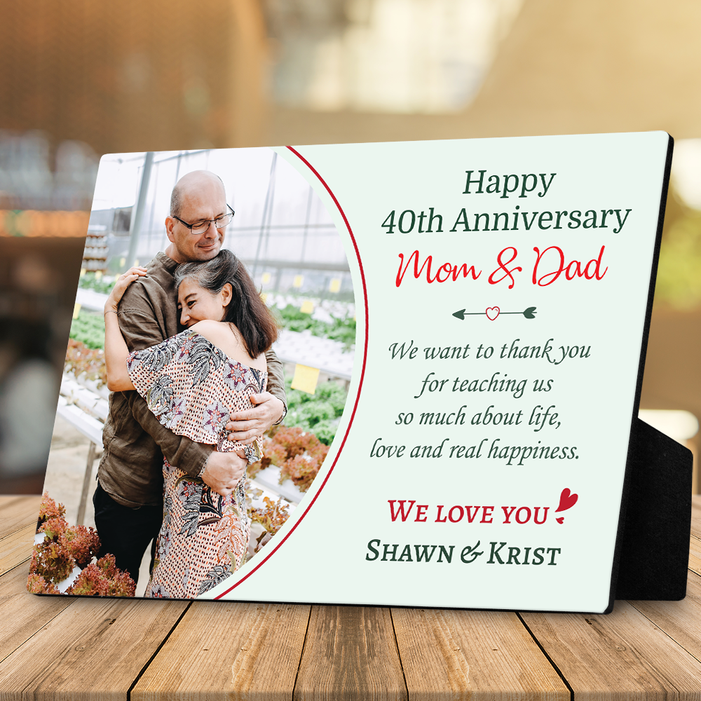 Happy 40th Anniversary Mom and Dad Desktop Plaque