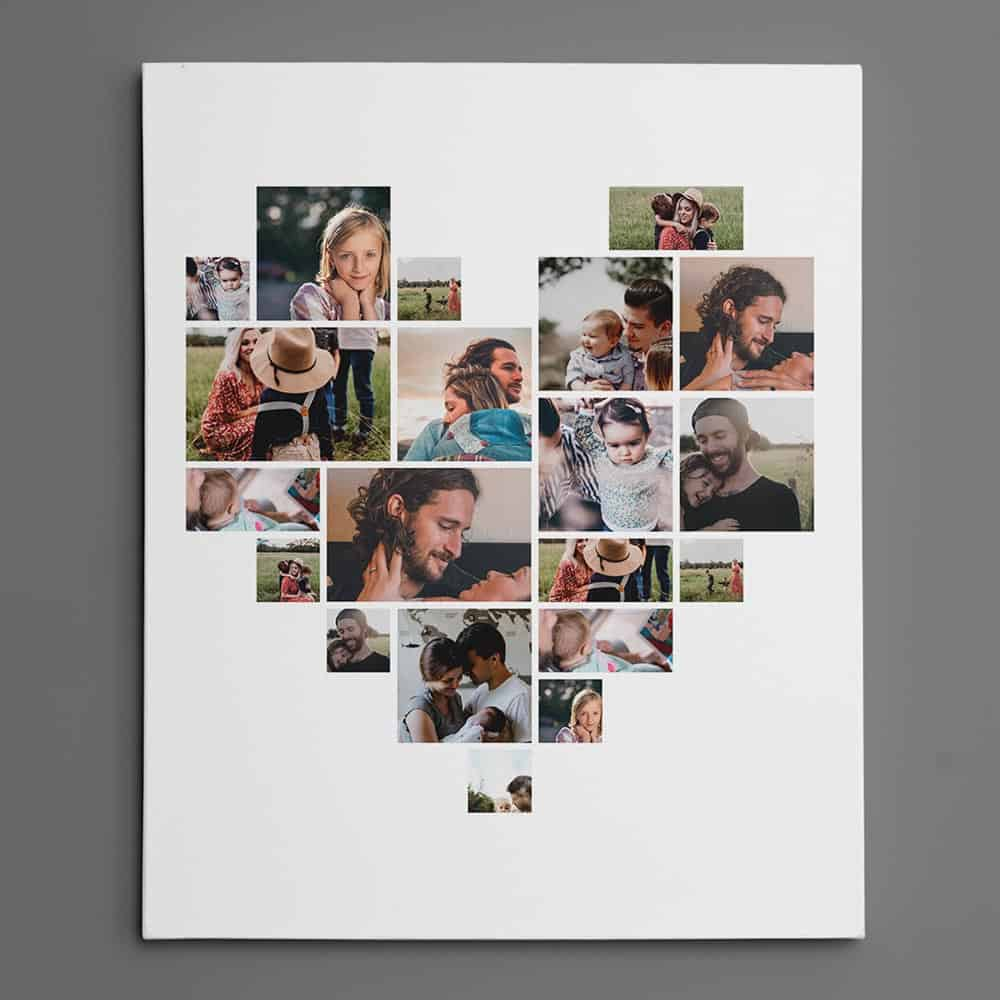 heart shaped photo collage custom canvas print