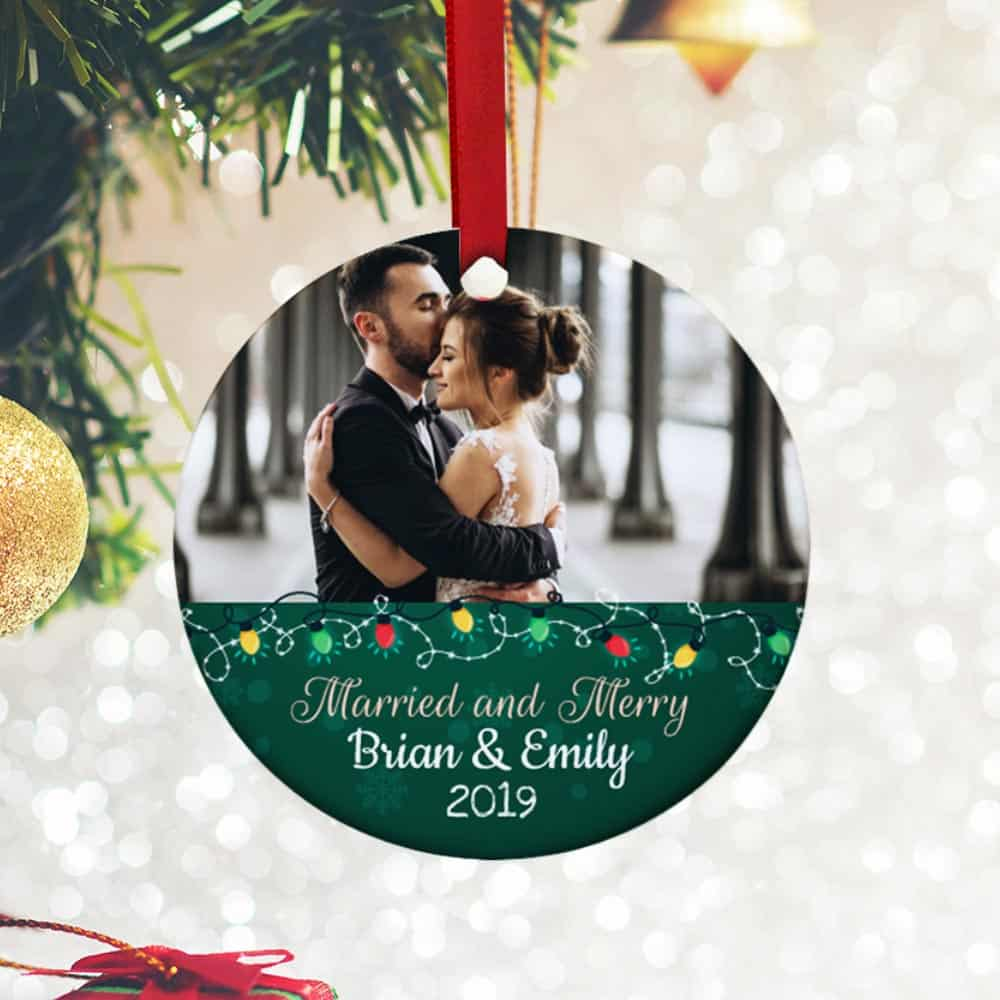 Married and Merry Photo Christmas Ornament