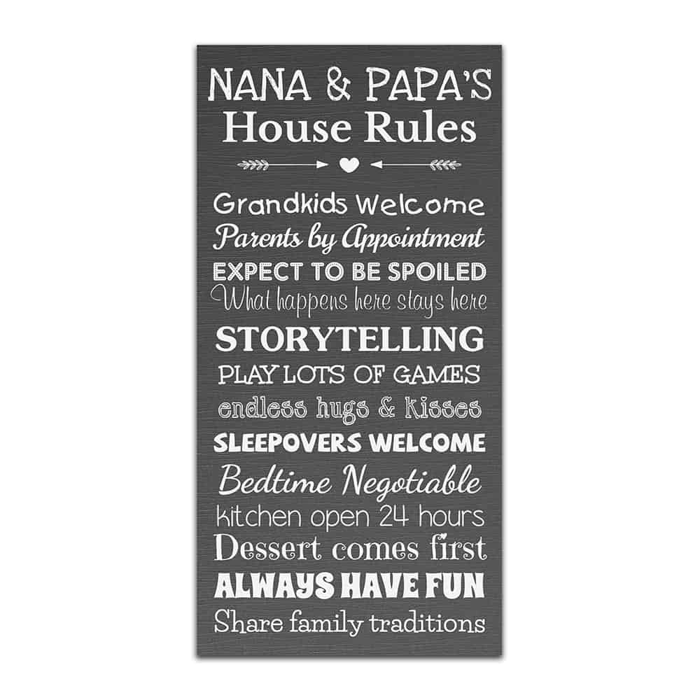 nana and papa house rules wall art canvas sign