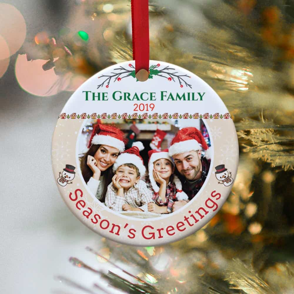 Season's Greetings Family Photo Christmas Ornament