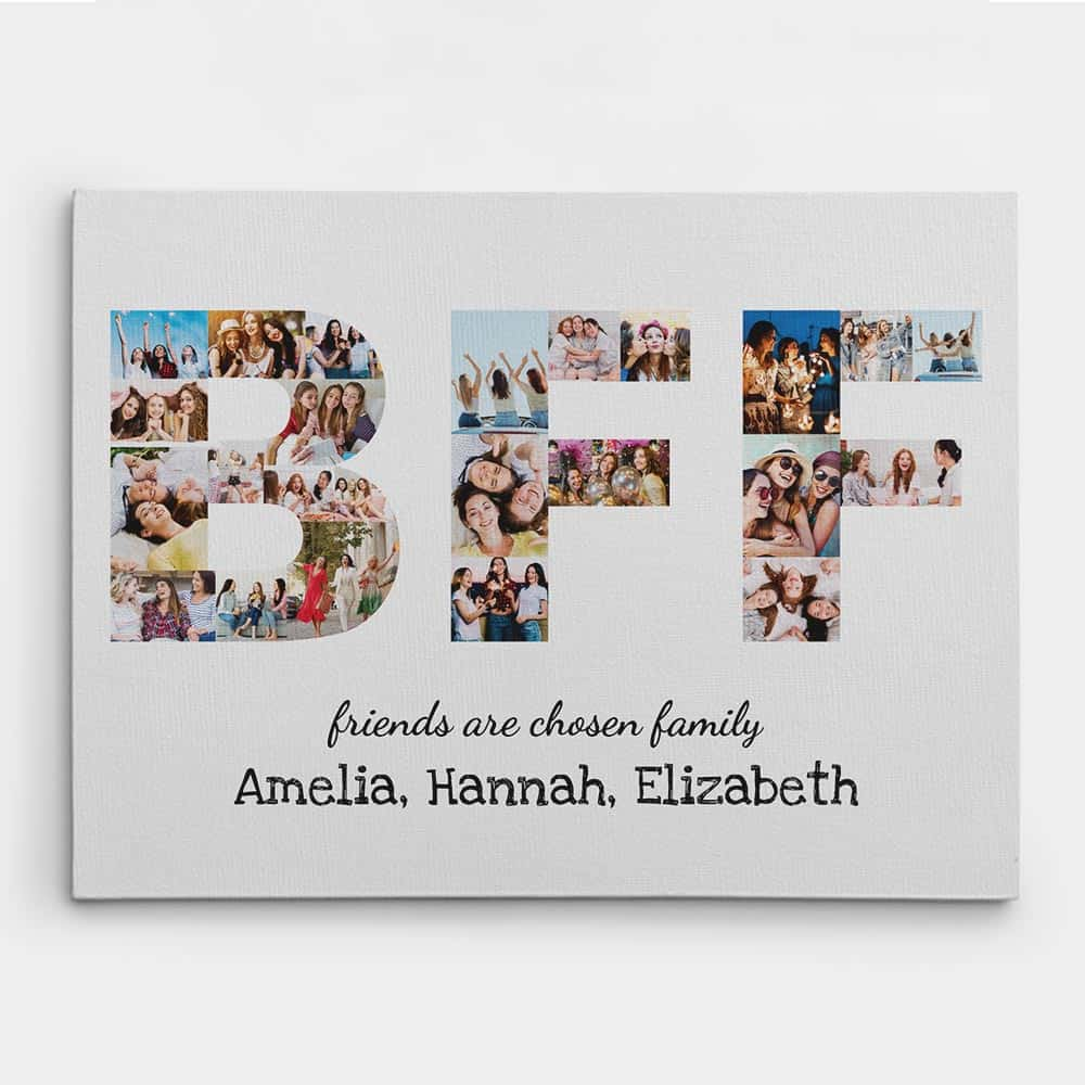 BFF Friends Are Chosen Family Photo Collage Canvas Print