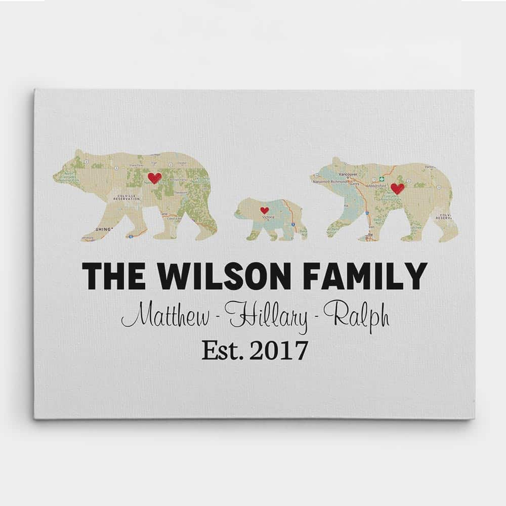 Bear Family Retro Map Custom Canvas Print - 1 kid