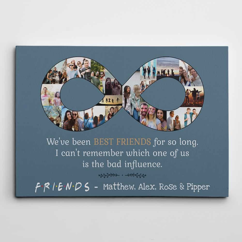 Best Friend Infinity Photo Collage Canvas Print slate gray background