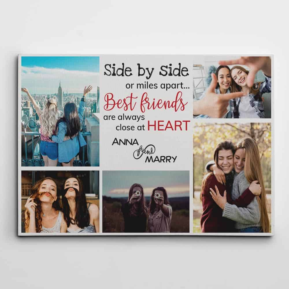 Side By Side Or Miles Apart - Best Friends Photo Collage Canvas Print