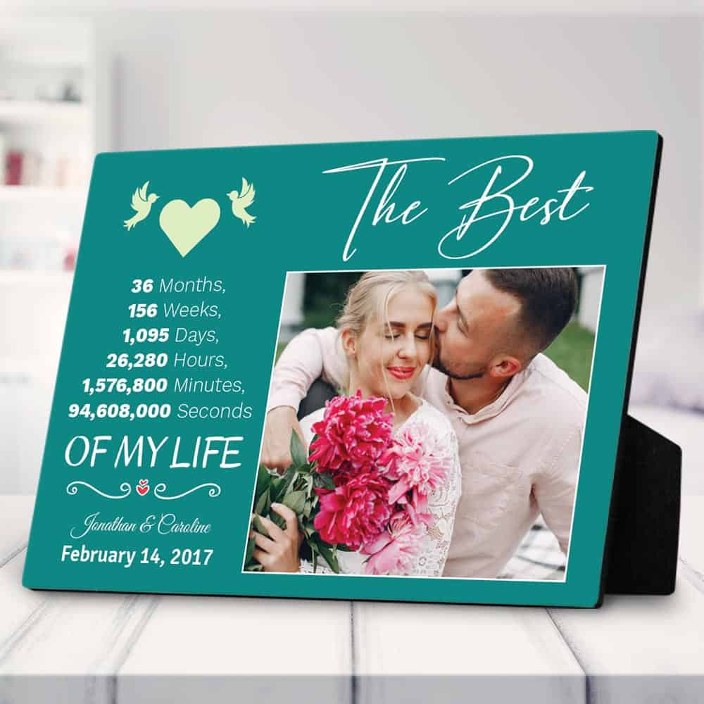 3 year anniversary gift - the best 3 years of my life custom desktop photo plaque