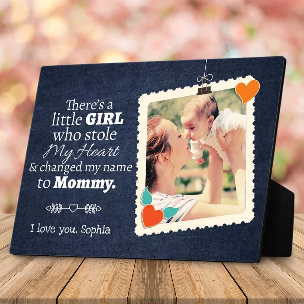 there is a little girl who stole my heart custom photo plaque
