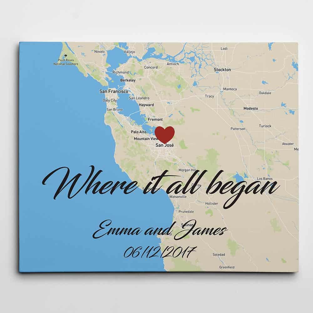 Where It All Began Horizontal Custom Map Canvas Print