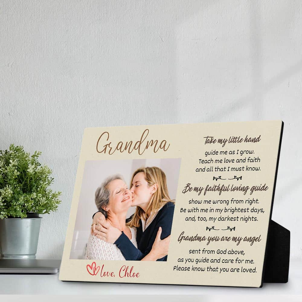 Grandma Desktop Photo Plaque with Poem - Take my little hand, guide me as I grow.