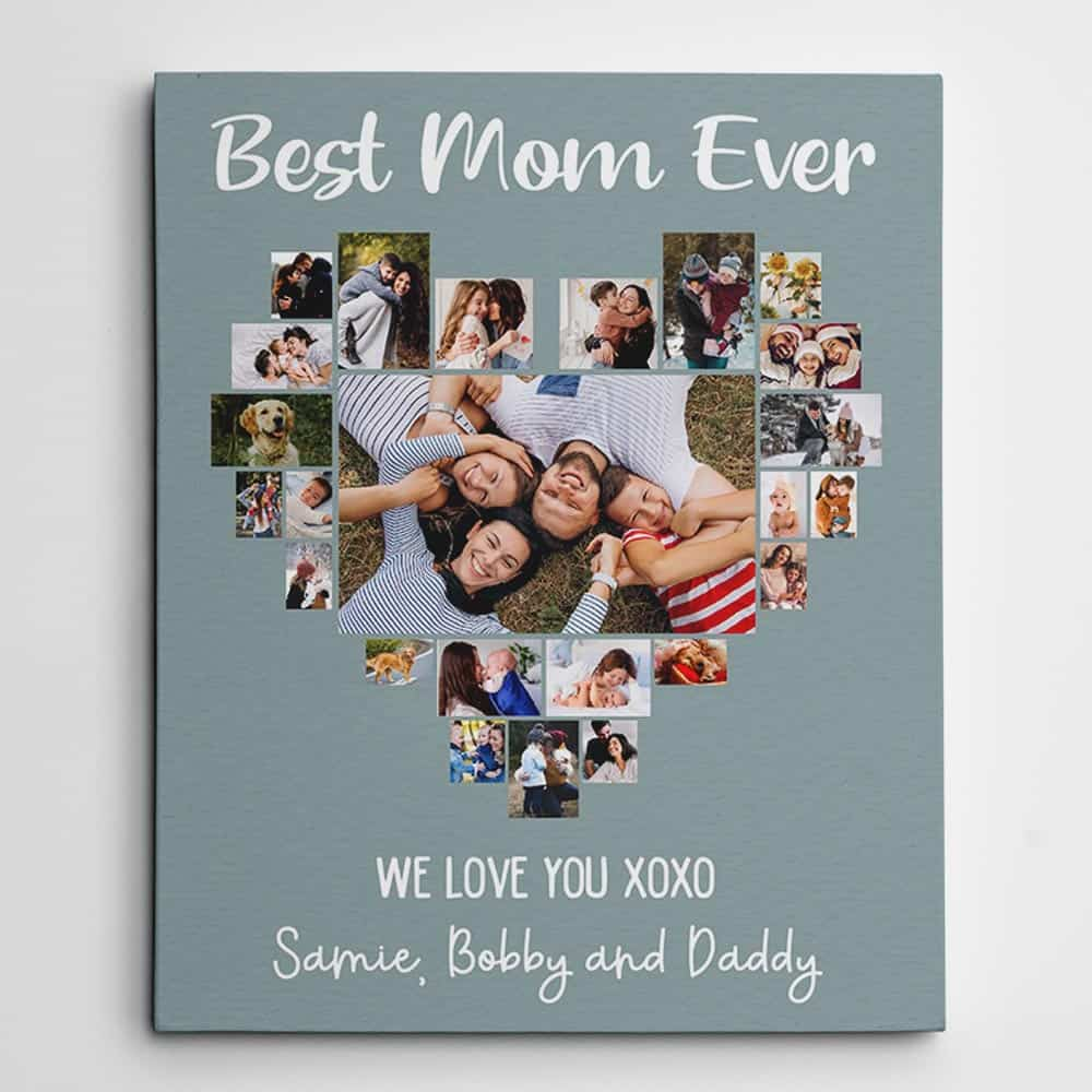 Best Mom Ever - Heart Shaped Photo Collage Canvas Print