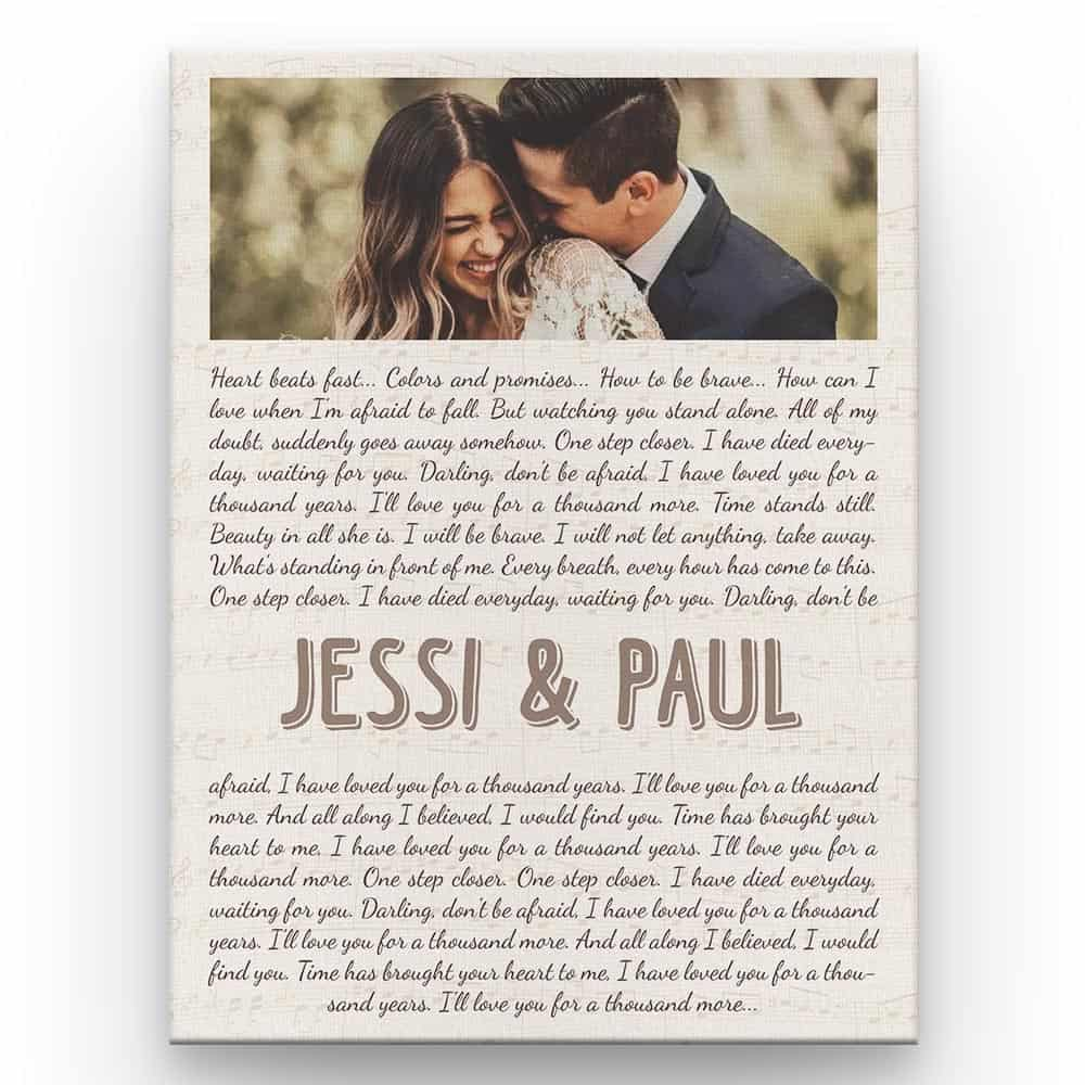 A photo canvas print with custom song lyrics on