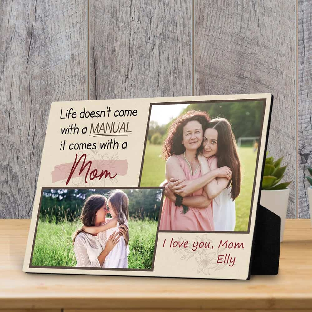 """Life doesn't come with a manual, it comes with a mom"" plaque"