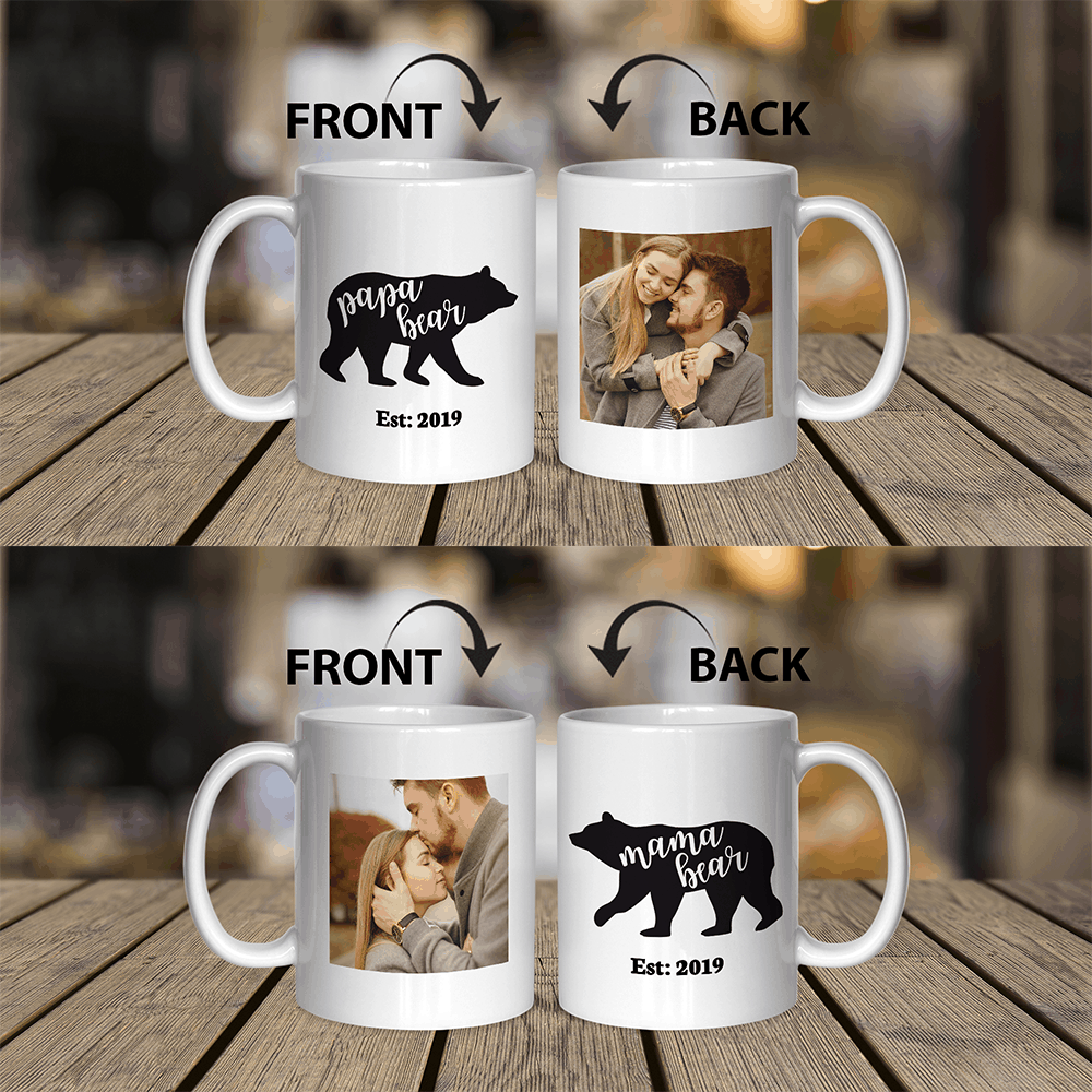 mama bear papa bear custom couples coffee mugs