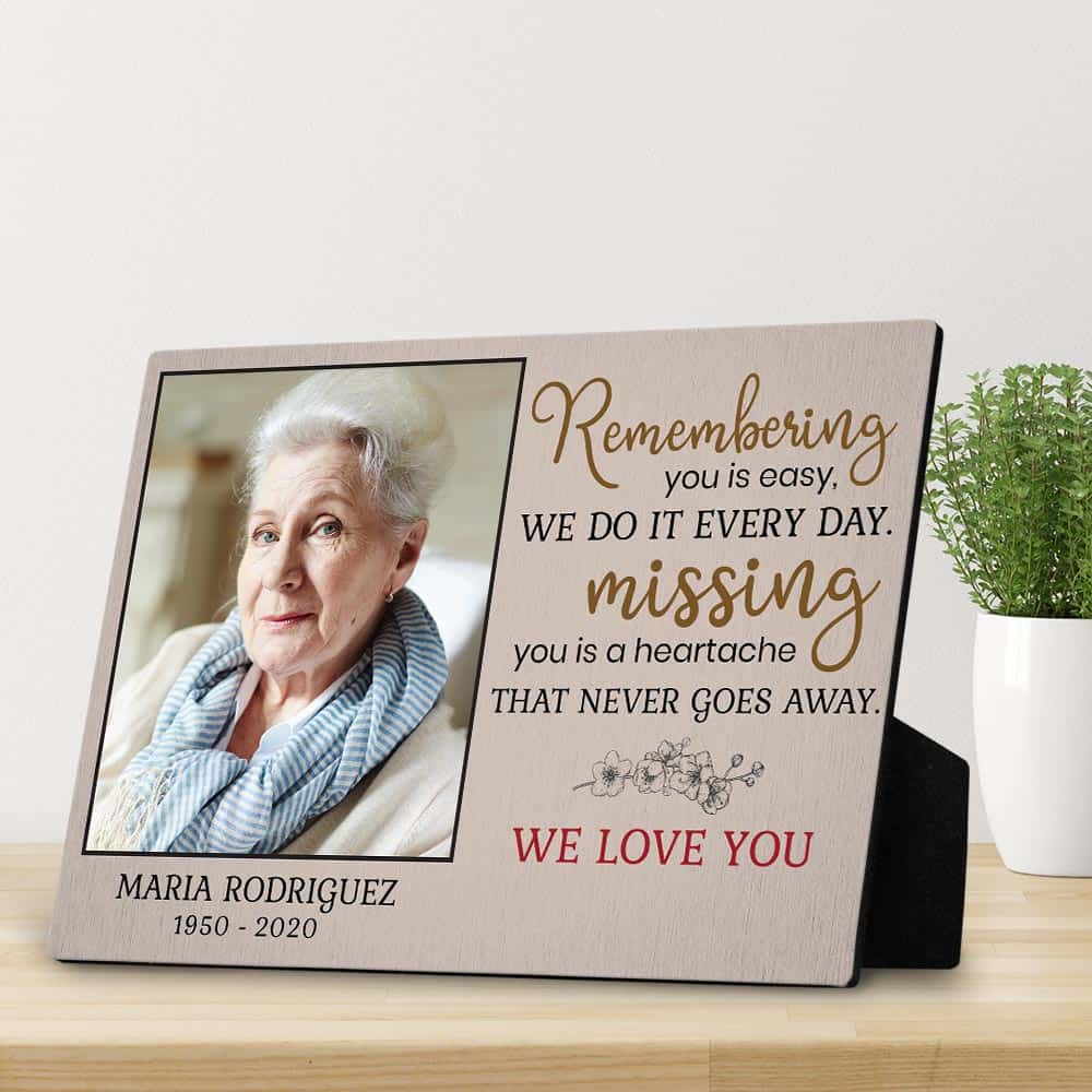 remembering you is easy custom photo plaque