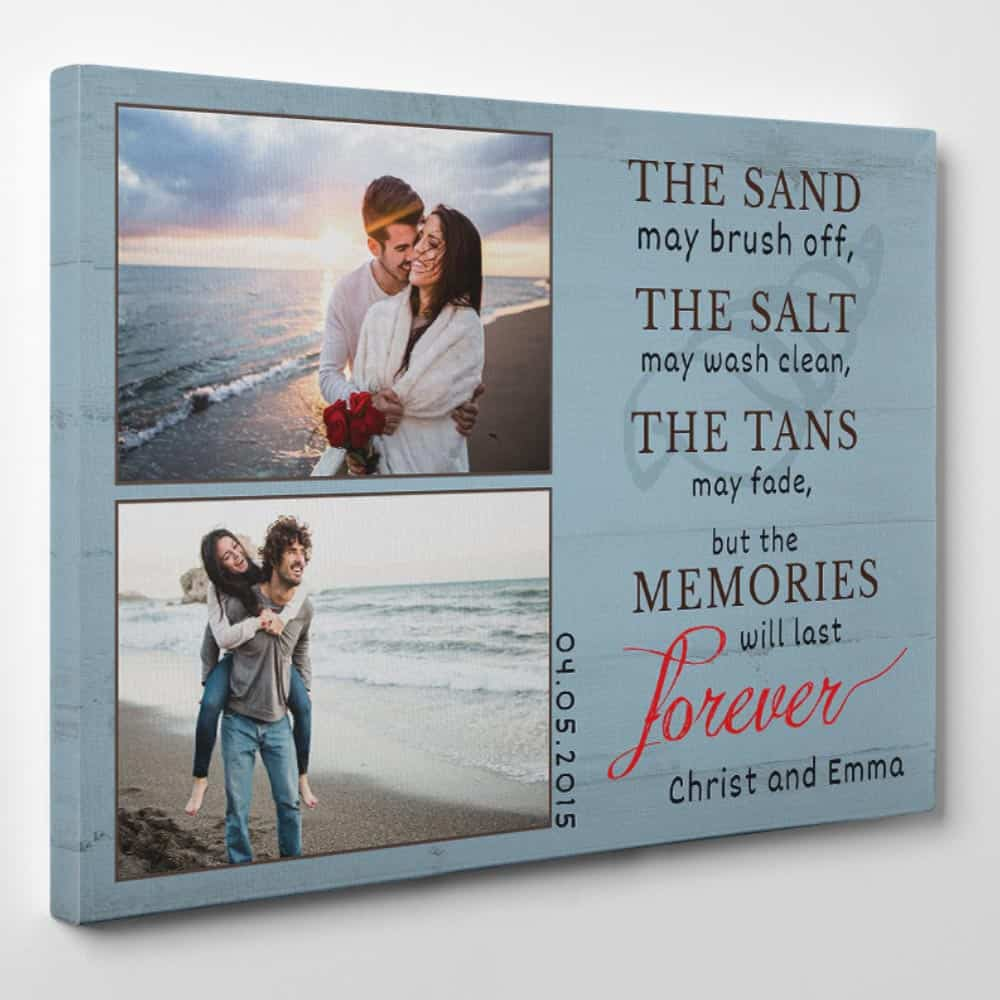 "the side of a custom canvas print with 2 photos and the message ""The sand may brush off"""