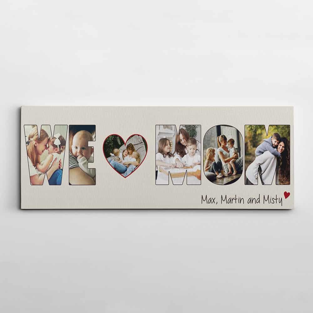 we love mom photo collage canvas print