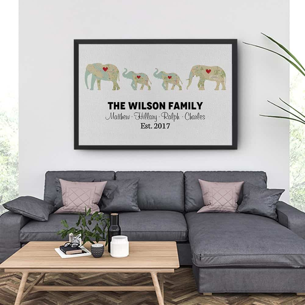 Personalized Elephant Family Print - Retro Map Canvas Print With 2 Kids