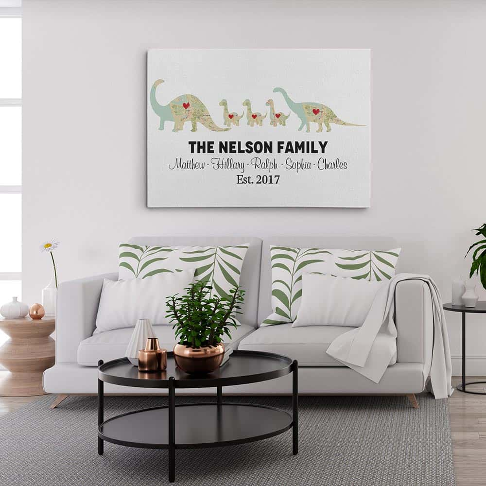 Dinosaur Family Map Canvas Print Hung On The Wall
