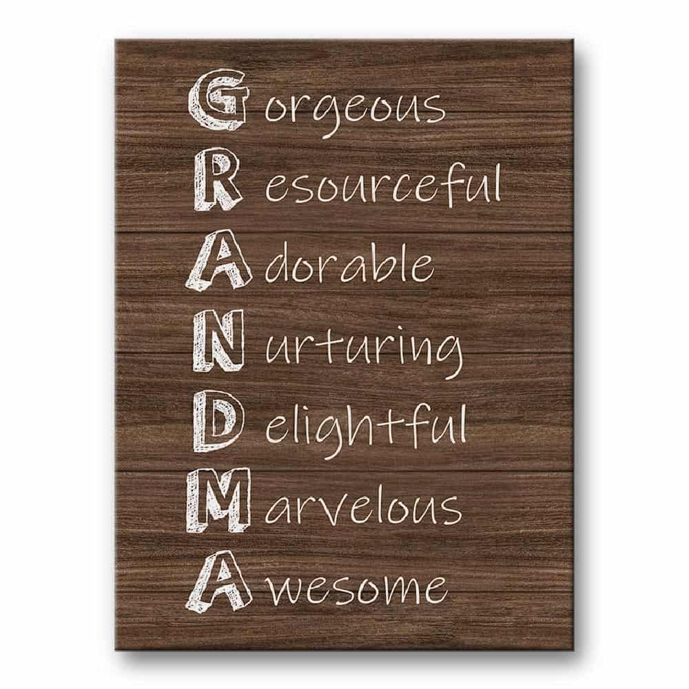 grandma acrostic poem canvas print - gift for grandma