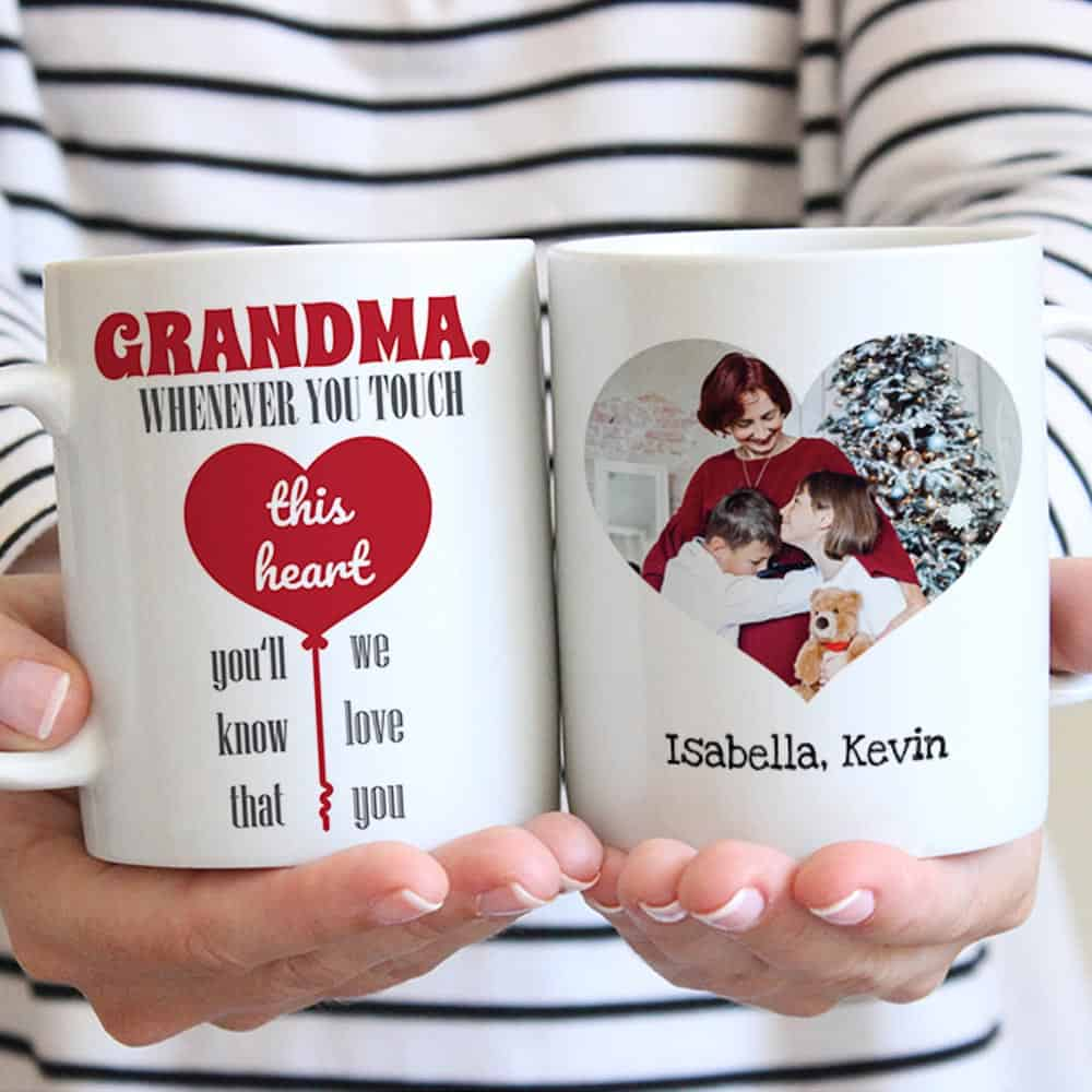Grandma Whenever You Touch This Heart custom mug