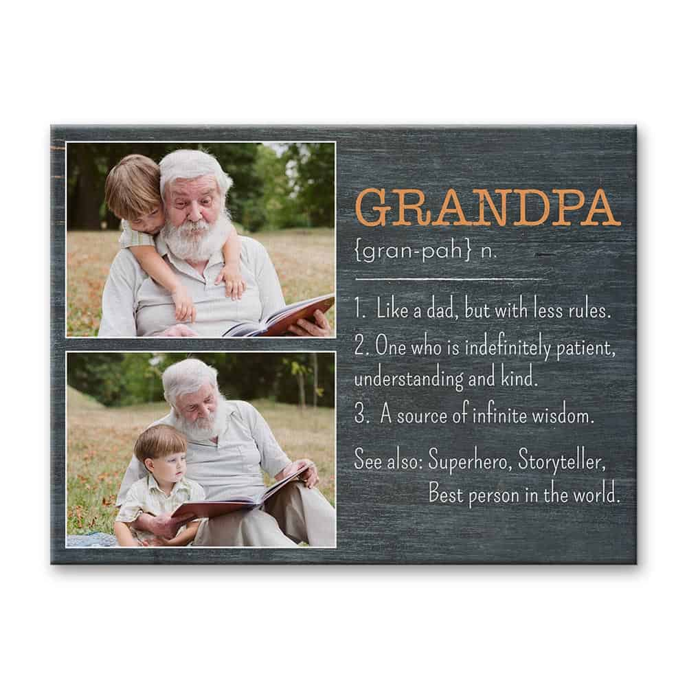 grandpa definition custom photo canvas print - gift for grandpa