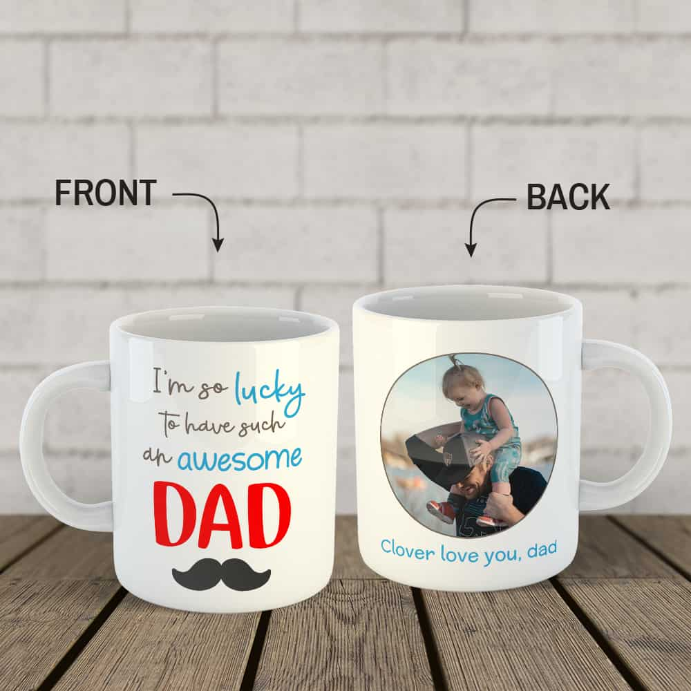 awesome dad custom photo mug - Father's day gift