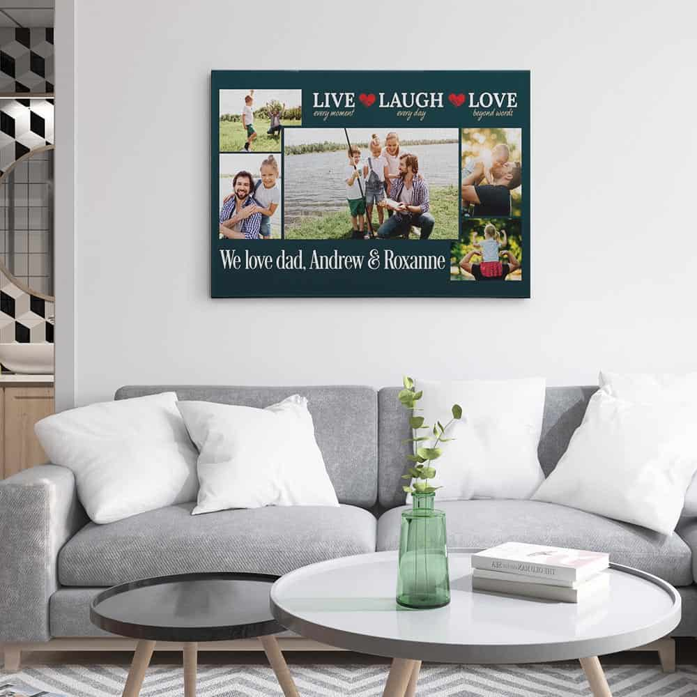 Live Every Moment Laugh Every Day Love Beyond Words - Photo Collage Canvas Hung On The Wall