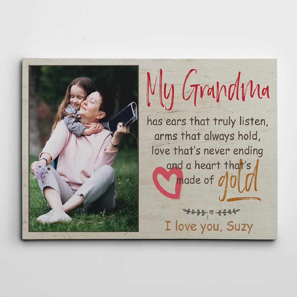 My grandma has ears that truly listen custom canvas print