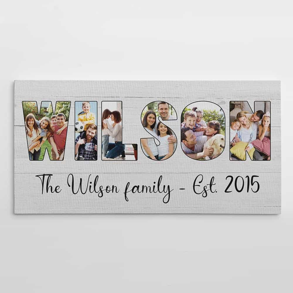 Custom Family Name Photo Letter Canvas Print - Wood Background