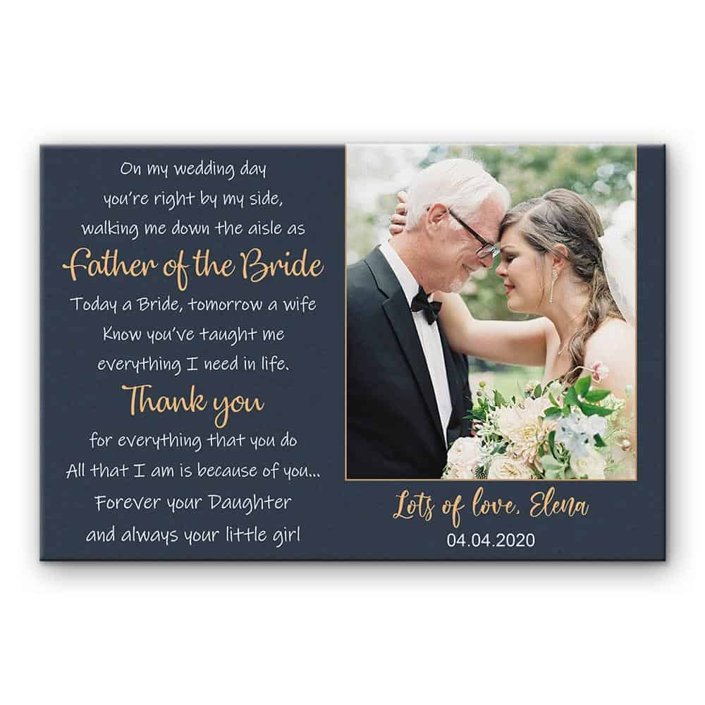 gift for father of the bride: father of the bride poem canvas print