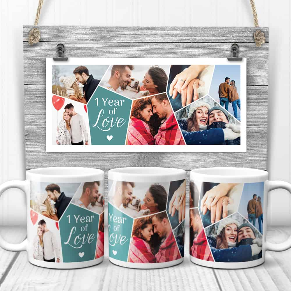 1 year together photo mugs - first anniversary gift idea