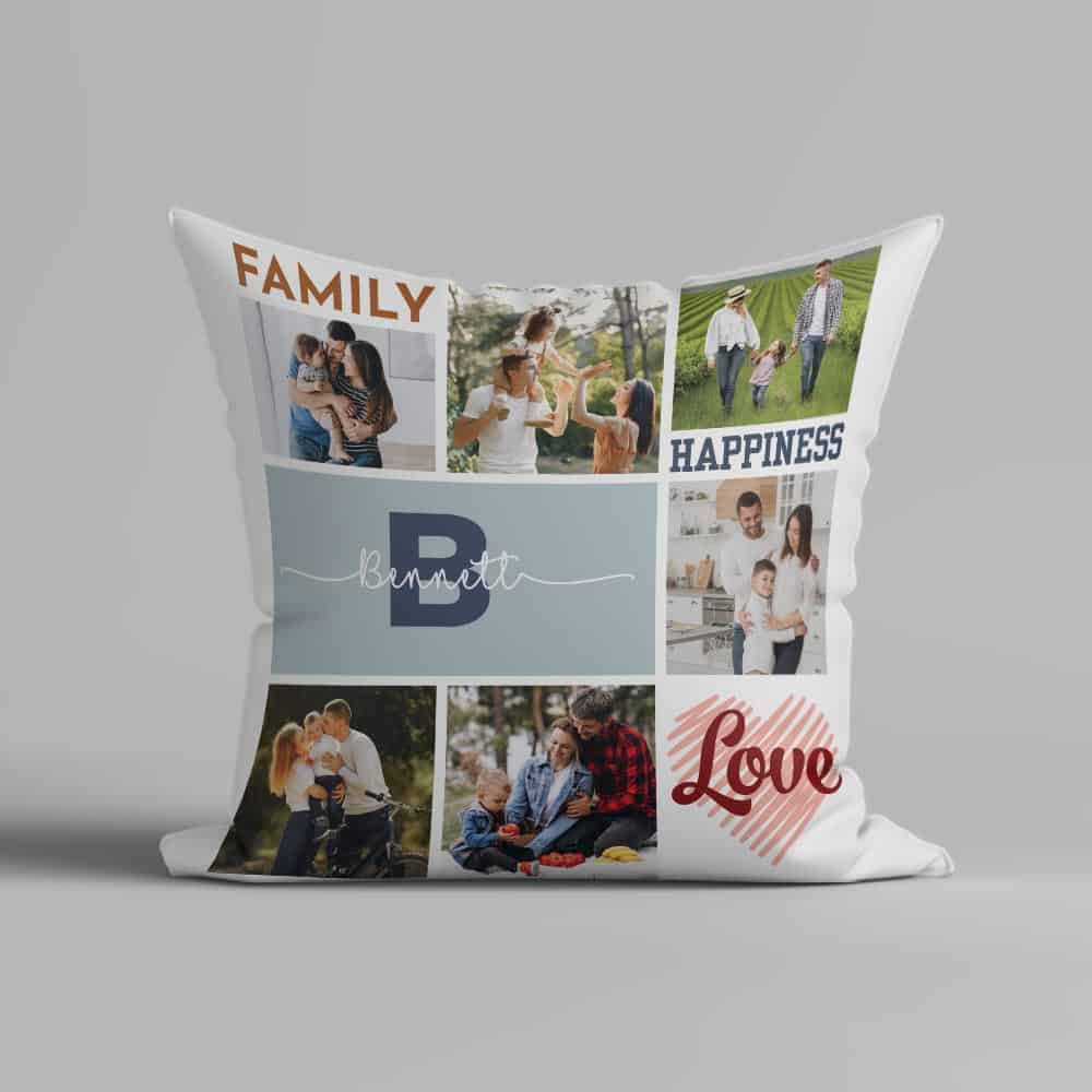 Monogrammed Family Photo Collage Pillow