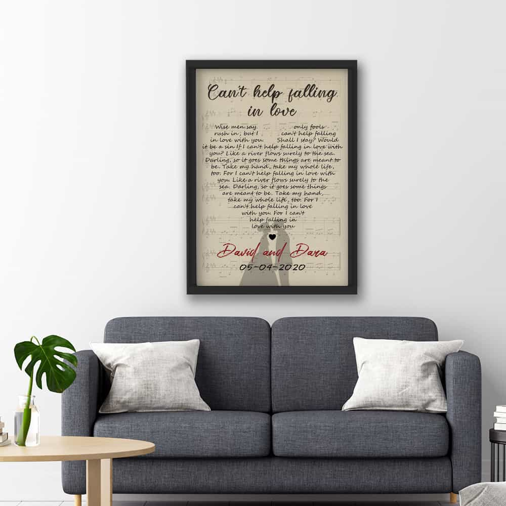 Heart-Shaped Song Lyrics On Vertical Canvas Print With Black Frame