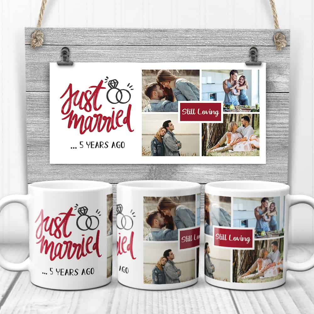 Just Married 5 Years Ago - 5th Anniversary Photo Collage Mug