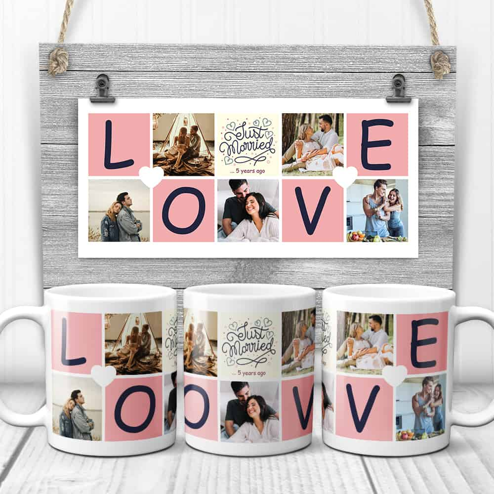 Just Married 5 Years Ago - 5th Anniversary Photo Collage Mug With LOVE letters
