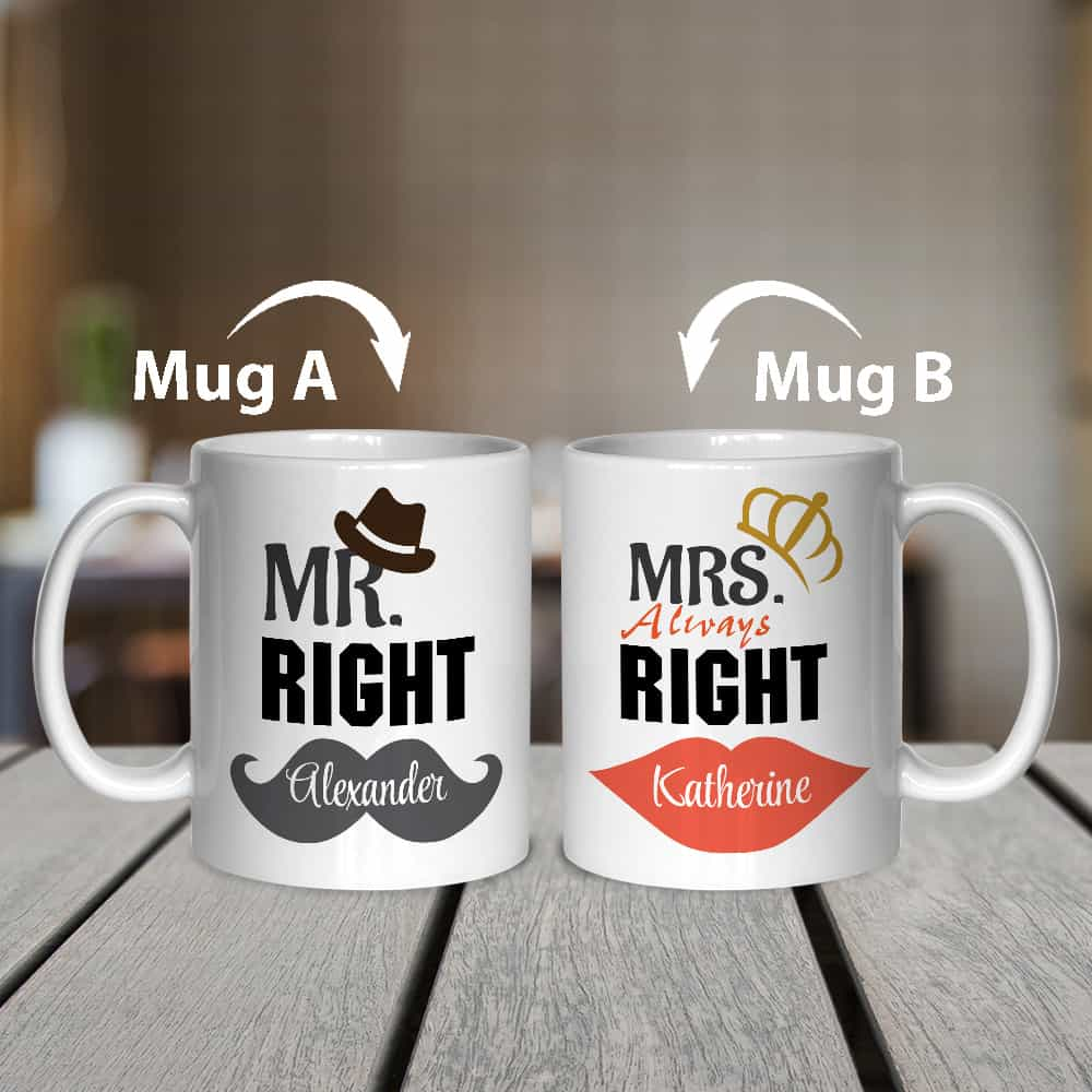mr right and mrs always right mugs