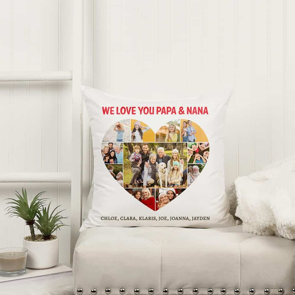 we love you papa and nana custom pillow - gifts for grandparents