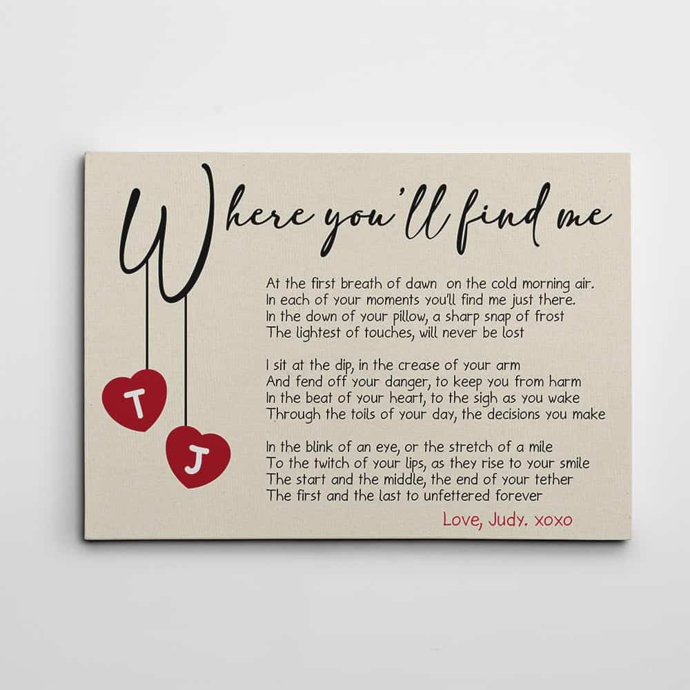 where you'll find me poem canvas