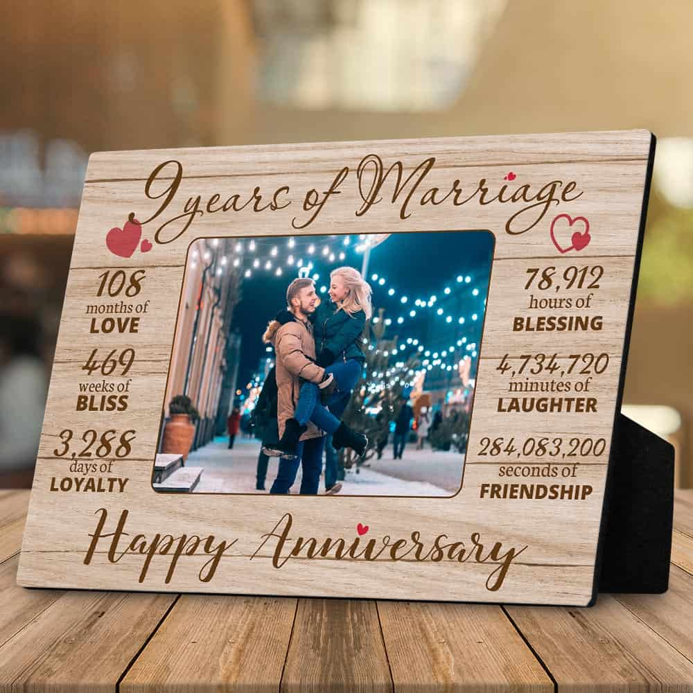 9 years of marriage happy anniversary custom photo desktop plaque
