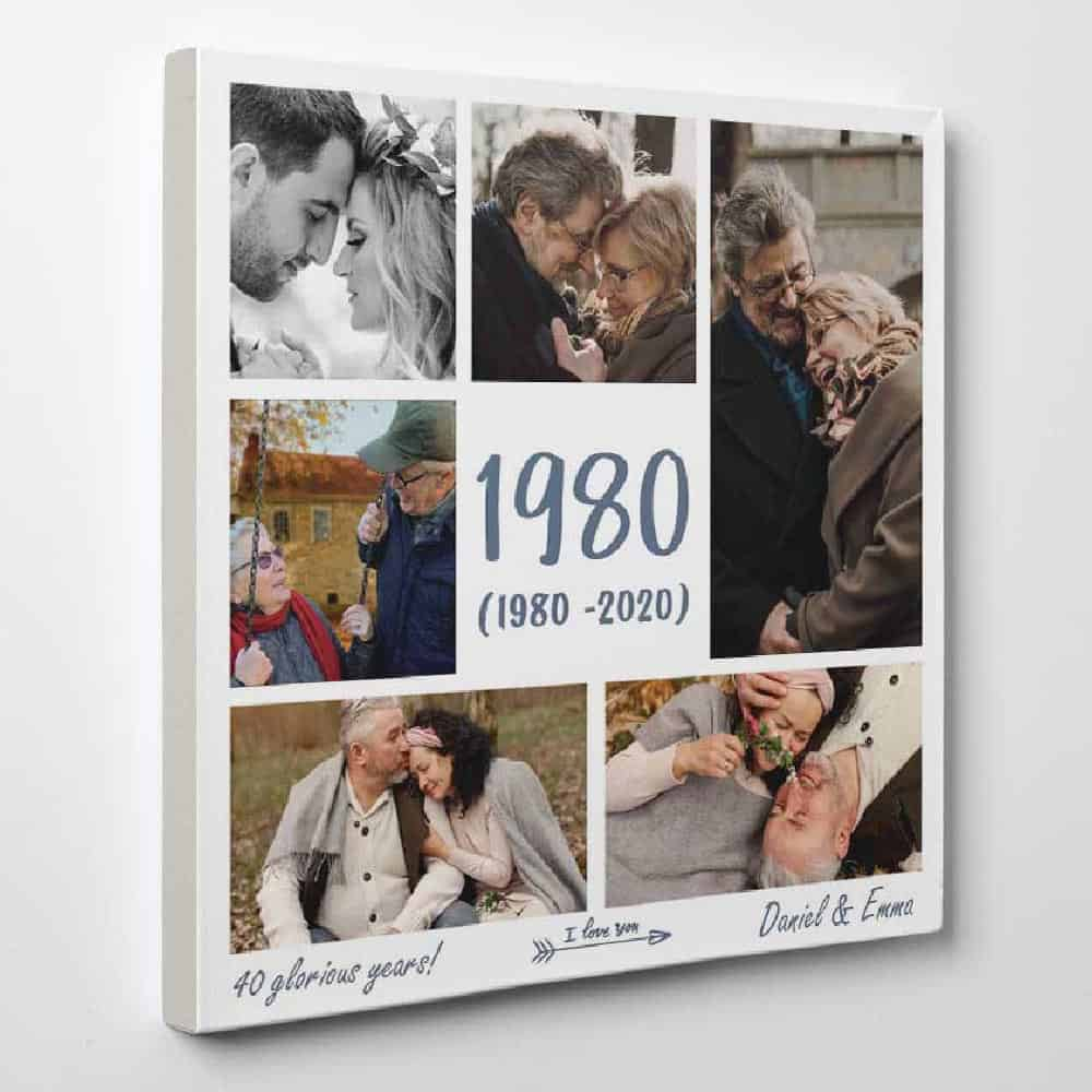 40 Glorious Years - Custom Anniversary Year Photo Collage Canvas - Square Photo Collage